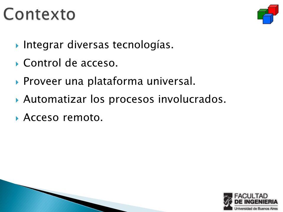 Integrar diversas tecnologías. Control de acceso. Proveer una plataforma universal. Automatizar los procesos involucrados. Acceso remoto.