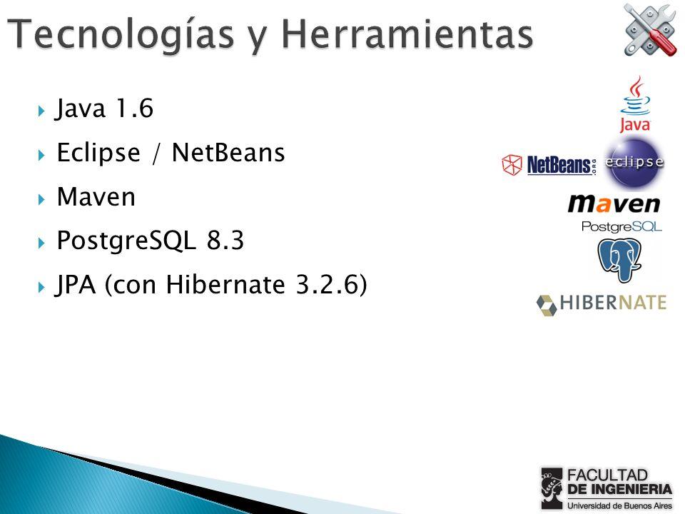 Java 1.6 Eclipse / NetBeans Maven PostgreSQL 8.3 JPA (con Hibernate 3.2.6)