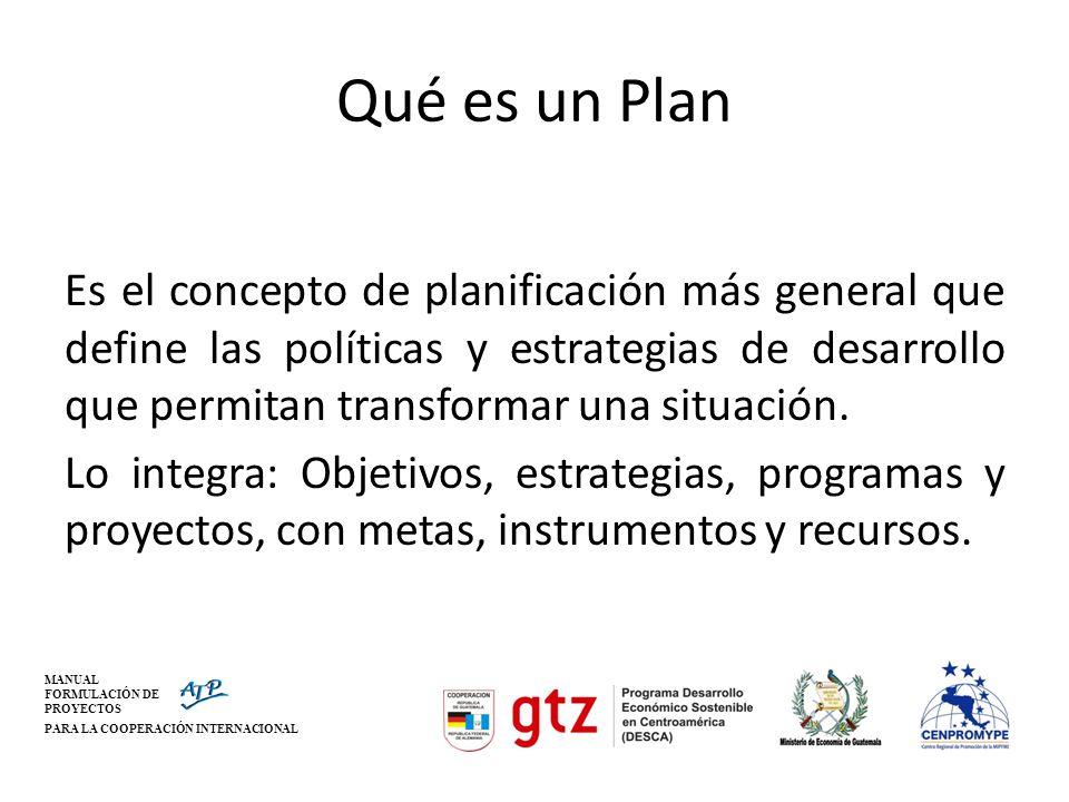MANUAL FORMULACIÓN DE PROYECTOS PARA LA COOPERACIÓN INTERNACIONAL Qué es un Plan Es el concepto de planificación más general que define las políticas
