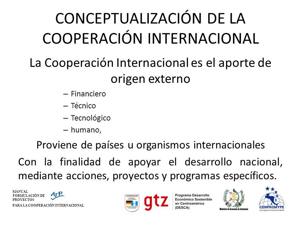 MANUAL FORMULACIÓN DE PROYECTOS PARA LA COOPERACIÓN INTERNACIONAL CONCEPTUALIZACIÓN DE LA COOPERACIÓN INTERNACIONAL La Cooperación Internacional es el