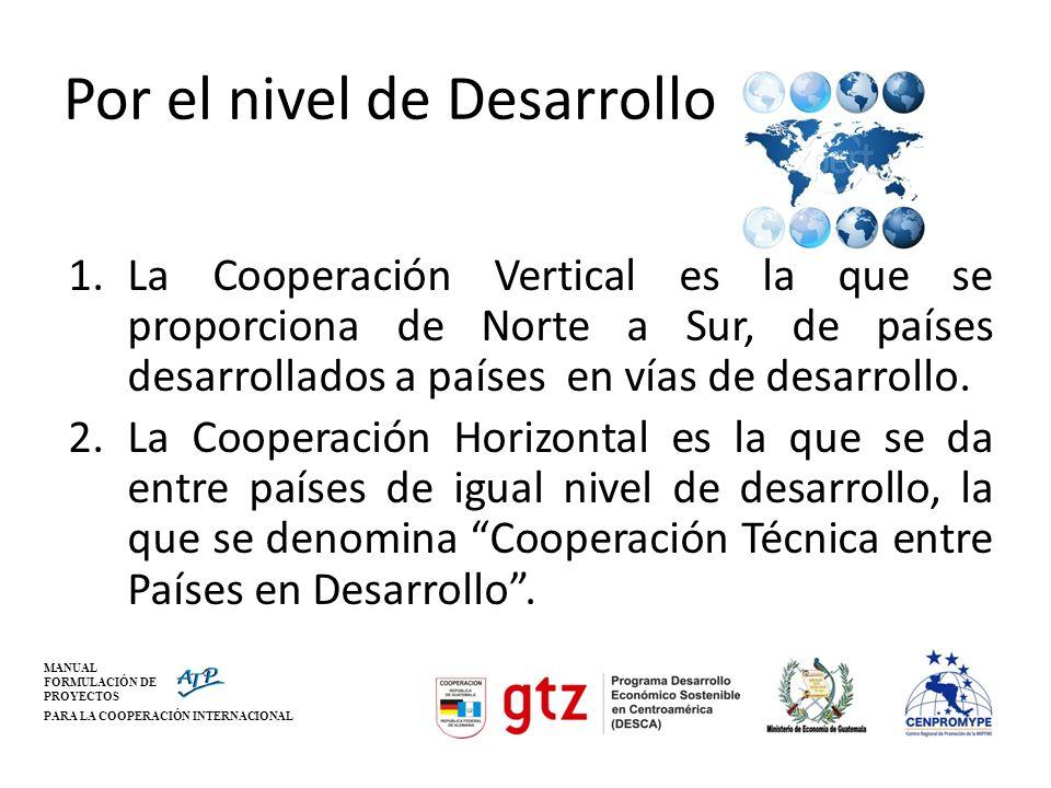 MANUAL FORMULACIÓN DE PROYECTOS PARA LA COOPERACIÓN INTERNACIONAL Por el nivel de Desarrollo 1.La Cooperación Vertical es la que se proporciona de Nor