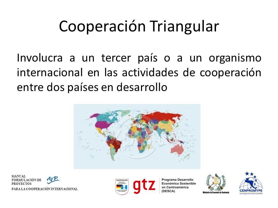 MANUAL FORMULACIÓN DE PROYECTOS PARA LA COOPERACIÓN INTERNACIONAL Cooperación Triangular Involucra a un tercer país o a un organismo internacional en