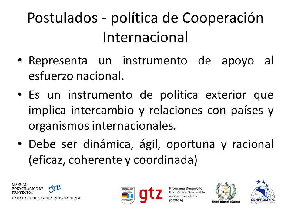 MANUAL FORMULACIÓN DE PROYECTOS PARA LA COOPERACIÓN INTERNACIONAL Postulados - política de Cooperación Internacional Representa un instrumento de apoy