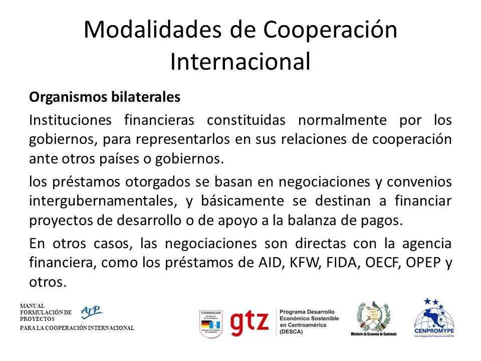 MANUAL FORMULACIÓN DE PROYECTOS PARA LA COOPERACIÓN INTERNACIONAL Modalidades de Cooperación Internacional Organismos bilaterales Instituciones financ