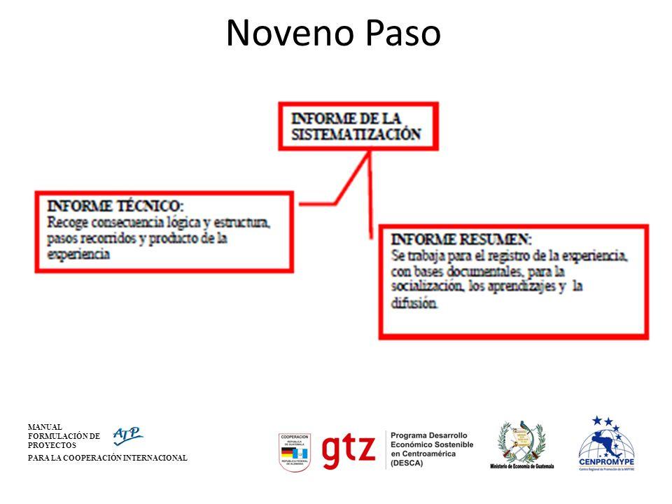 MANUAL FORMULACIÓN DE PROYECTOS PARA LA COOPERACIÓN INTERNACIONAL Noveno Paso
