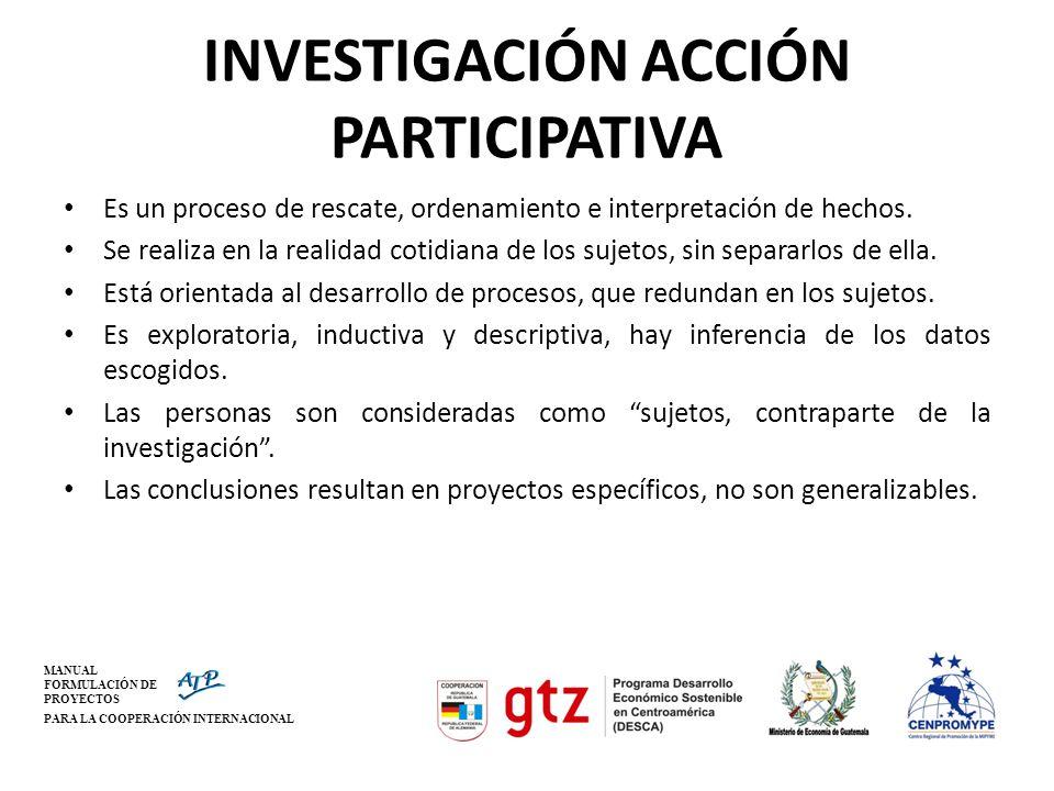 MANUAL FORMULACIÓN DE PROYECTOS PARA LA COOPERACIÓN INTERNACIONAL INVESTIGACIÓN ACCIÓN PARTICIPATIVA Es un proceso de rescate, ordenamiento e interpre