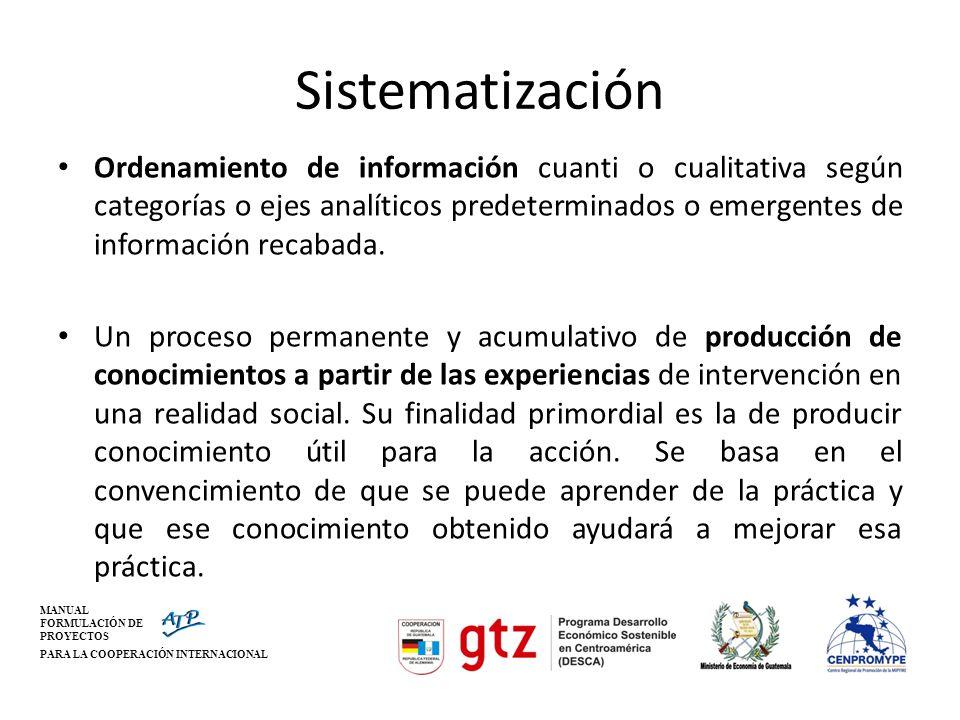 MANUAL FORMULACIÓN DE PROYECTOS PARA LA COOPERACIÓN INTERNACIONAL Sistematización Ordenamiento de información cuanti o cualitativa según categorías o