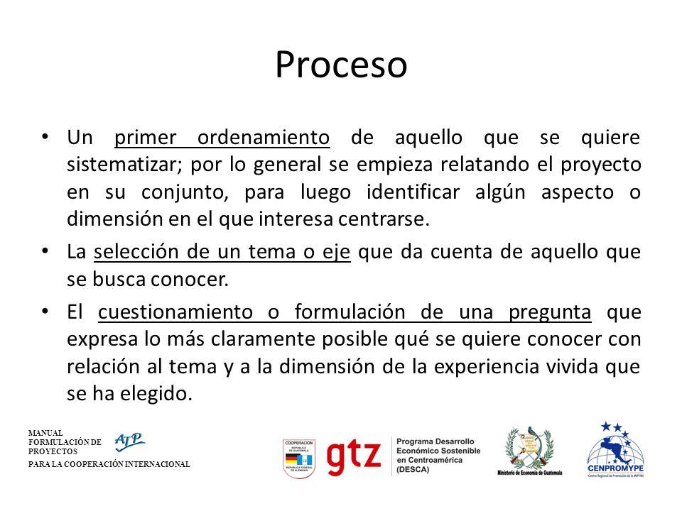 MANUAL FORMULACIÓN DE PROYECTOS PARA LA COOPERACIÓN INTERNACIONAL Proceso Un primer ordenamiento de aquello que se quiere sistematizar; por lo general
