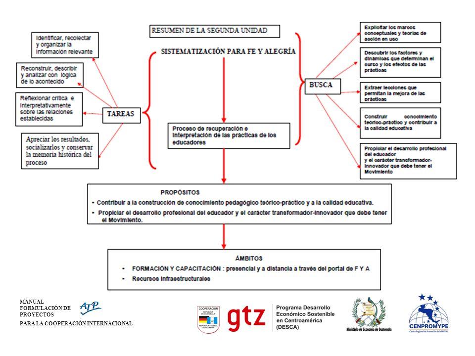 MANUAL FORMULACIÓN DE PROYECTOS PARA LA COOPERACIÓN INTERNACIONAL Pasos para la Sistematización
