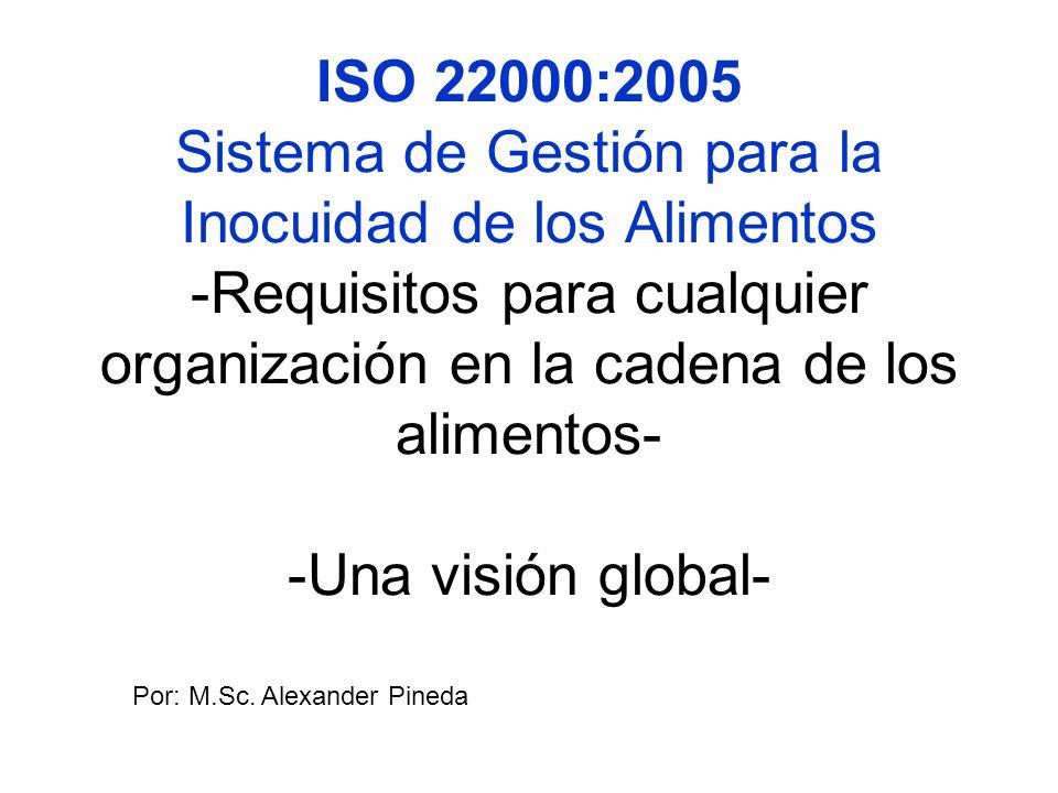 ISO 22000:2005 Sistema de Gestión para la Inocuidad de los Alimentos -Requisitos para cualquier organización en la cadena de los alimentos- -Una visió