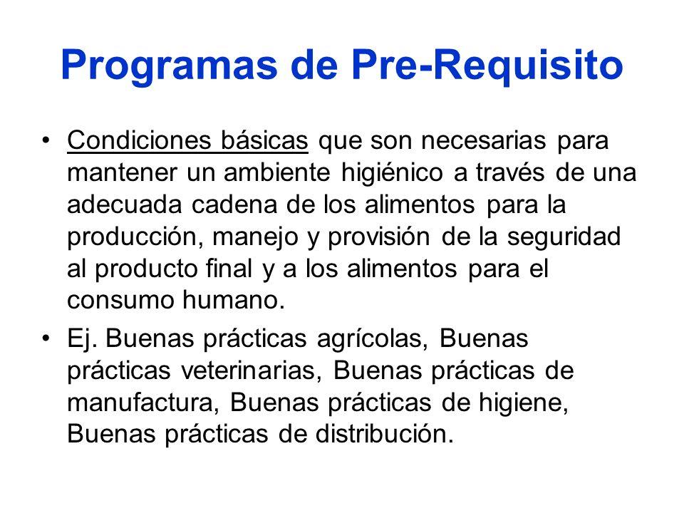 Programas de Pre-Requisito Condiciones básicas que son necesarias para mantener un ambiente higiénico a través de una adecuada cadena de los alimentos