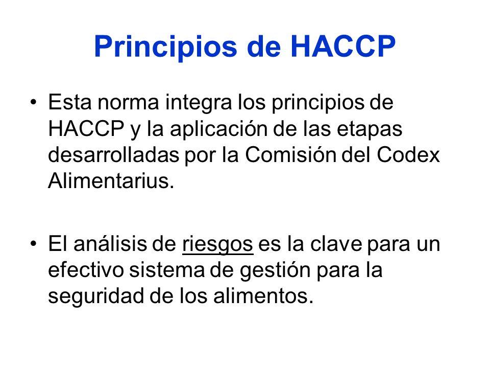 Principios de HACCP Esta norma integra los principios de HACCP y la aplicación de las etapas desarrolladas por la Comisión del Codex Alimentarius. El