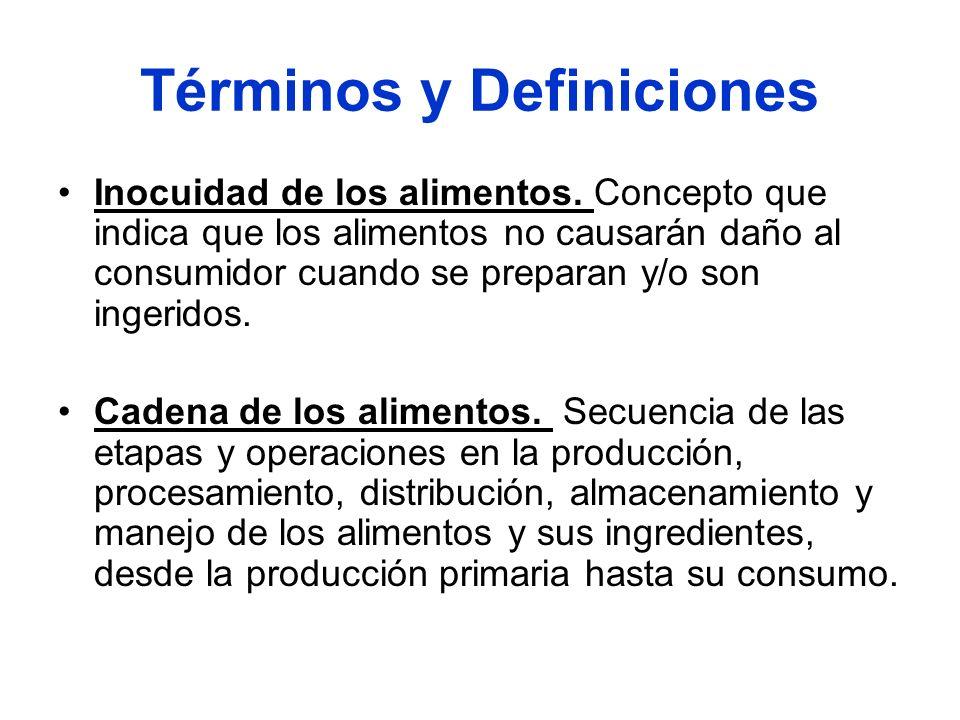 Términos y Definiciones Inocuidad de los alimentos. Concepto que indica que los alimentos no causarán daño al consumidor cuando se preparan y/o son in