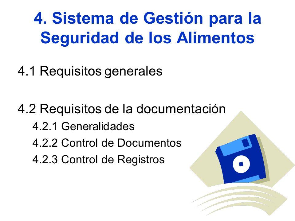 4. Sistema de Gestión para la Seguridad de los Alimentos 4.1 Requisitos generales 4.2 Requisitos de la documentación 4.2.1 Generalidades 4.2.2 Control
