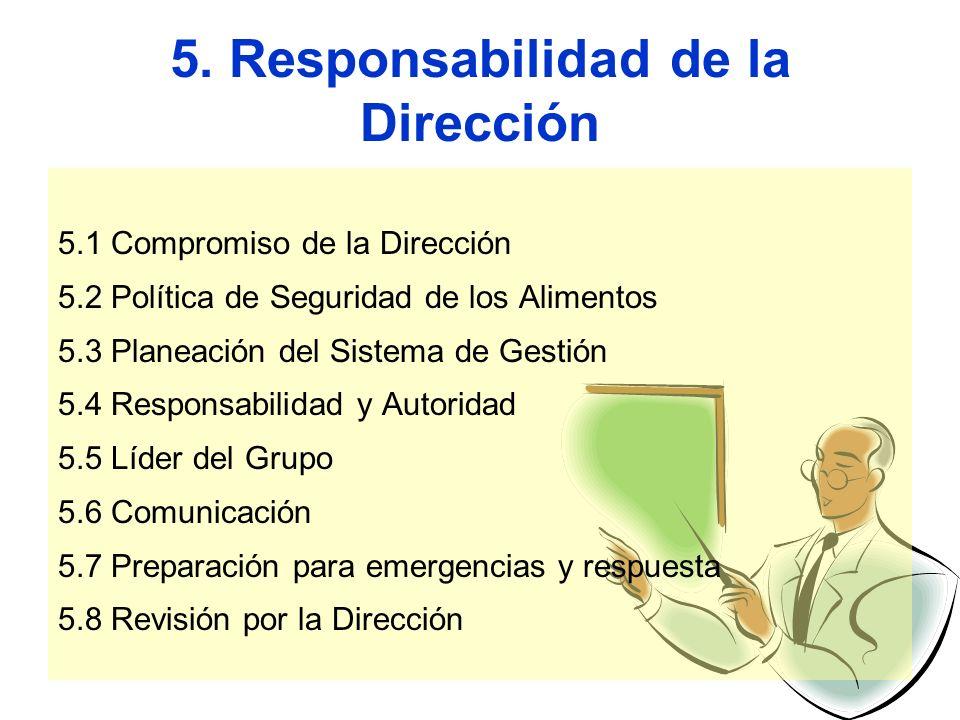 5. Responsabilidad de la Dirección 5.1 Compromiso de la Dirección 5.2 Política de Seguridad de los Alimentos 5.3 Planeación del Sistema de Gestión 5.4