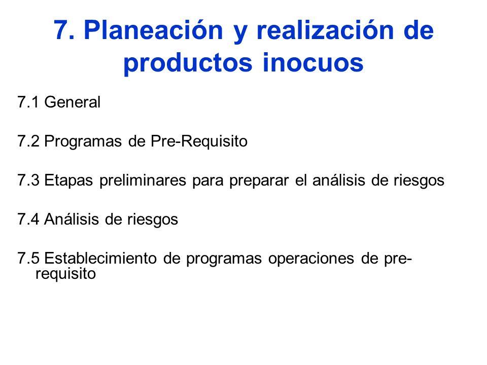 7. Planeación y realización de productos inocuos 7.1 General 7.2 Programas de Pre-Requisito 7.3 Etapas preliminares para preparar el análisis de riesg