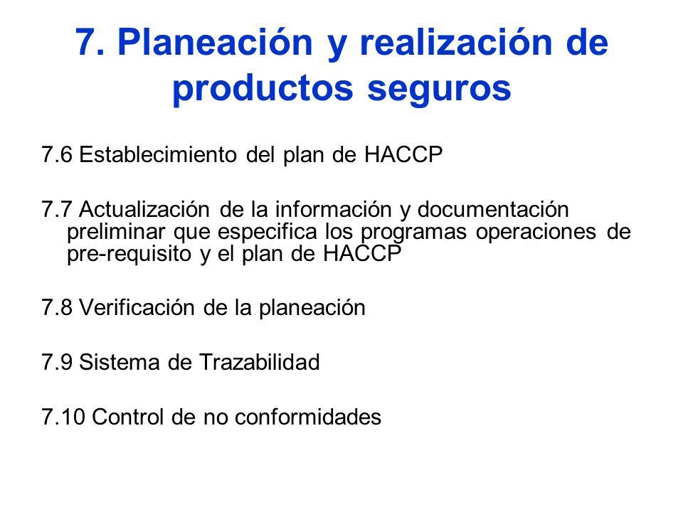 7. Planeación y realización de productos seguros 7.6 Establecimiento del plan de HACCP 7.7 Actualización de la información y documentación preliminar