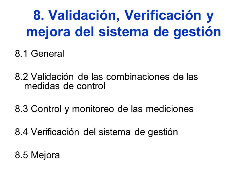 8. Validación, Verificación y mejora del sistema de gestión 8.1 General 8.2 Validación de las combinaciones de las medidas de control 8.3 Control y mo