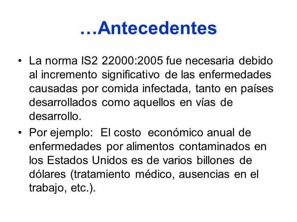 …Antecedentes La norma IS2 22000:2005 fue necesaria debido al incremento significativo de las enfermedades causadas por comida infectada, tanto en paí