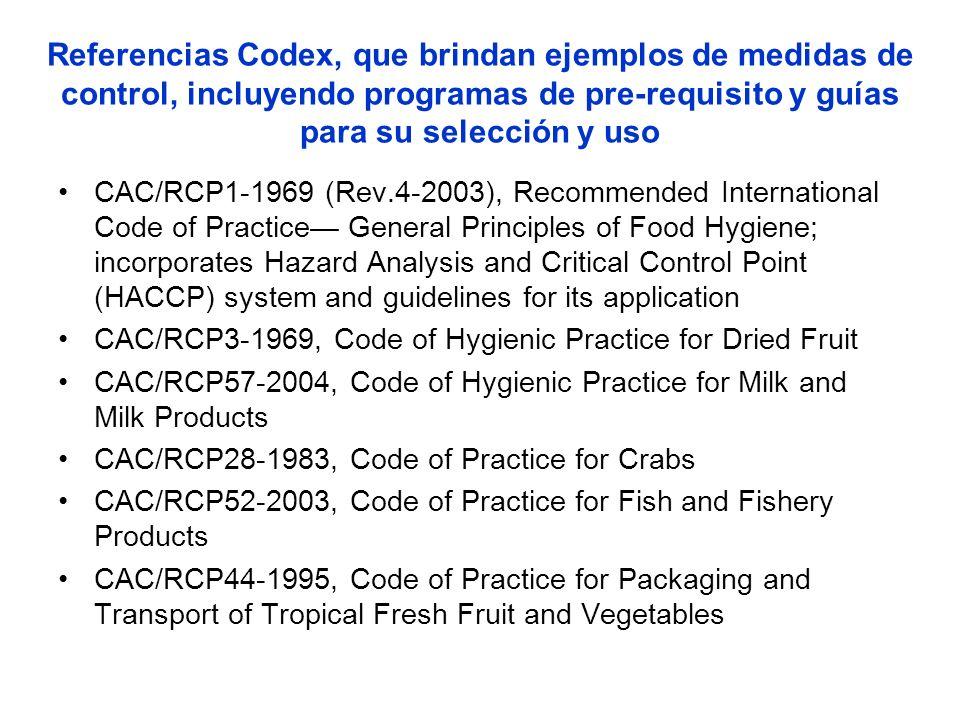 Referencias Codex, que brindan ejemplos de medidas de control, incluyendo programas de pre-requisito y guías para su selección y uso CAC/RCP1-1969 (Re