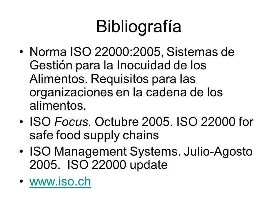 Bibliografía Norma ISO 22000:2005, Sistemas de Gestión para la Inocuidad de los Alimentos. Requisitos para las organizaciones en la cadena de los alim