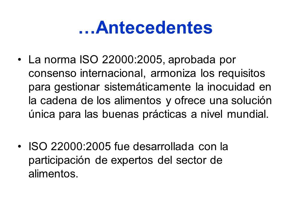 …Antecedentes La norma ISO 22000:2005, aprobada por consenso internacional, armoniza los requisitos para gestionar sistemáticamente la inocuidad en la