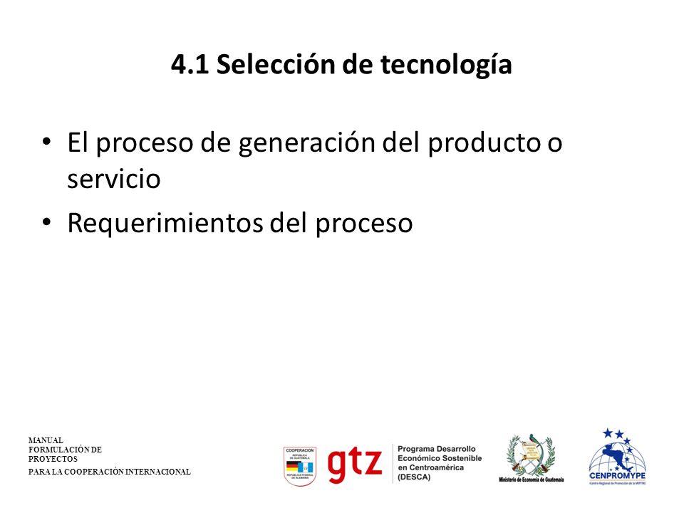 4.1 Selección de tecnología El proceso de generación del producto o servicio Requerimientos del proceso MANUAL FORMULACIÓN DE PROYECTOS PARA LA COOPER