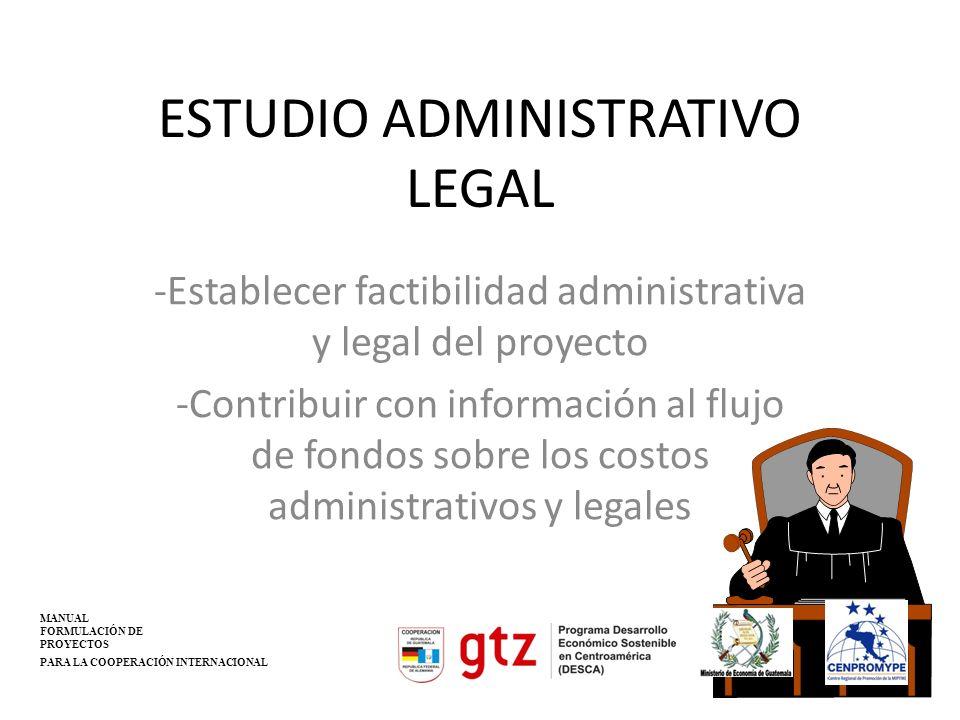 ESTUDIO ADMINISTRATIVO LEGAL -Establecer factibilidad administrativa y legal del proyecto -Contribuir con información al flujo de fondos sobre los cos