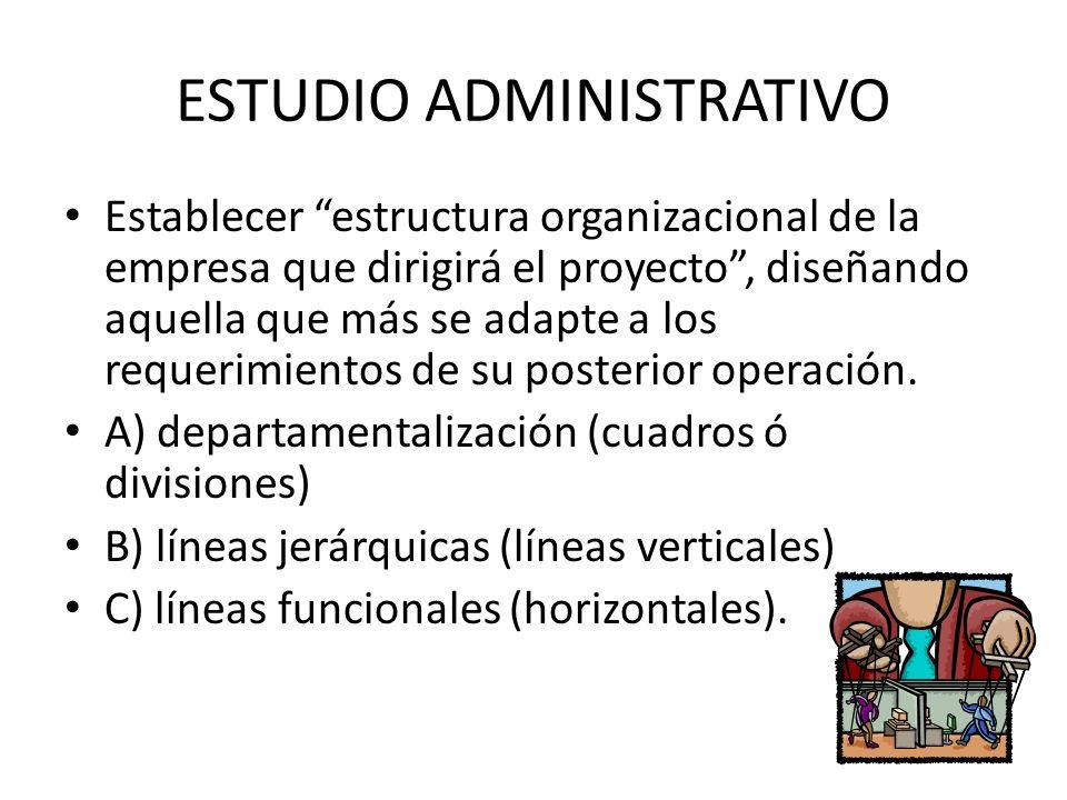 ESTUDIO ADMINISTRATIVO Establecer estructura organizacional de la empresa que dirigirá el proyecto, diseñando aquella que más se adapte a los requerim