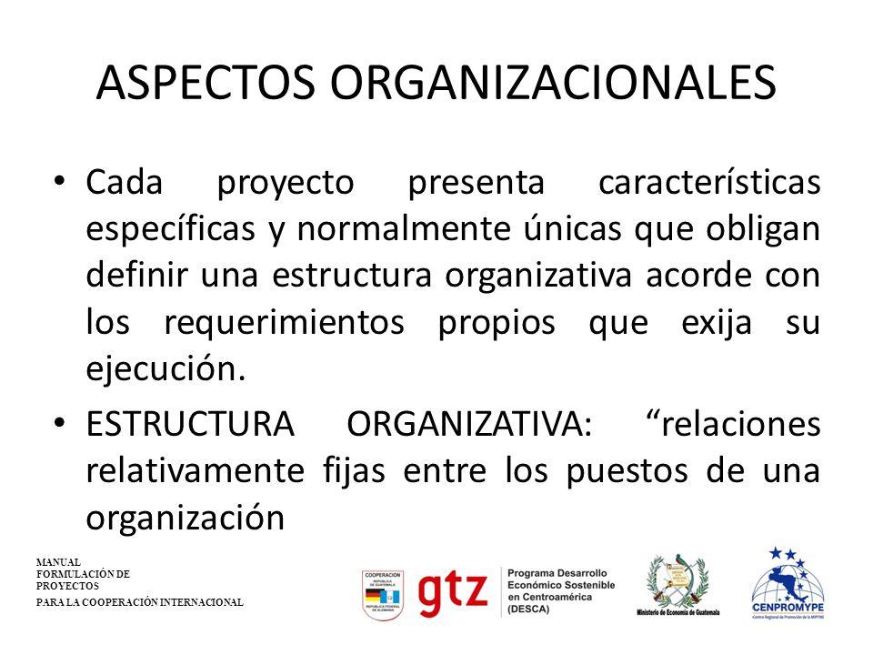 ASPECTOS ORGANIZACIONALES Cada proyecto presenta características específicas y normalmente únicas que obligan definir una estructura organizativa acor