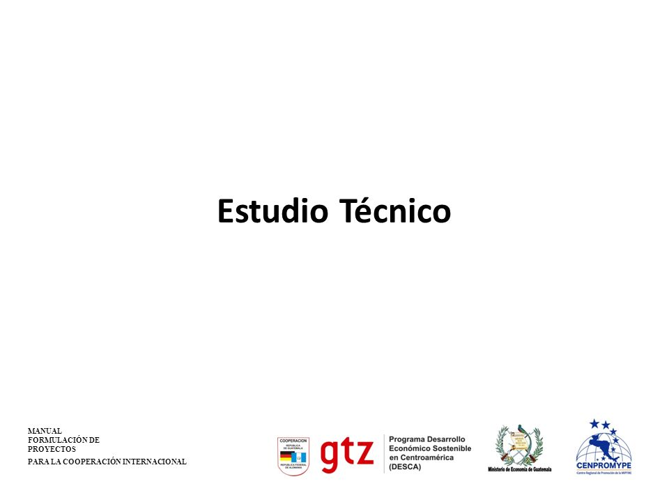Estudio Técnico MANUAL FORMULACIÓN DE PROYECTOS PARA LA COOPERACIÓN INTERNACIONAL