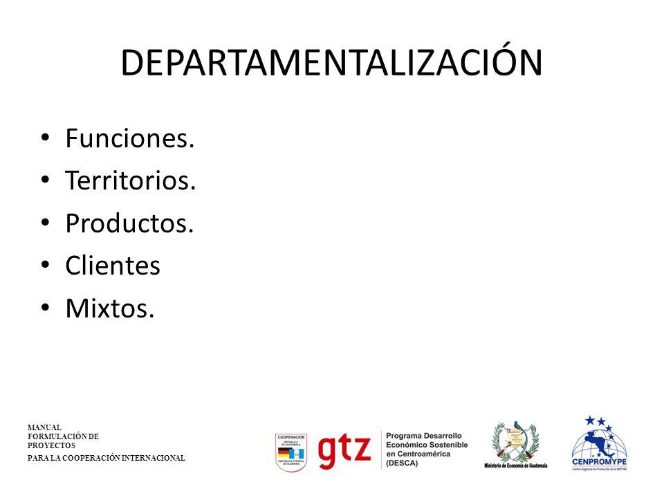 DEPARTAMENTALIZACIÓN Funciones. Territorios. Productos. Clientes Mixtos. MANUAL FORMULACIÓN DE PROYECTOS PARA LA COOPERACIÓN INTERNACIONAL