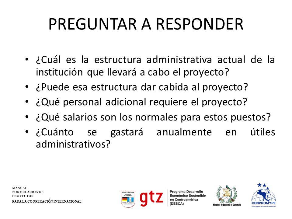 PREGUNTAR A RESPONDER ¿Cuál es la estructura administrativa actual de la institución que llevará a cabo el proyecto? ¿Puede esa estructura dar cabida