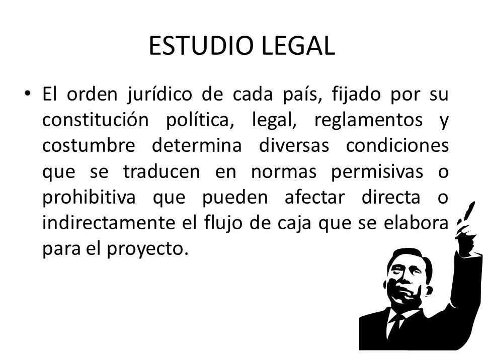 ESTUDIO LEGAL El orden jurídico de cada país, fijado por su constitución política, legal, reglamentos y costumbre determina diversas condiciones que s