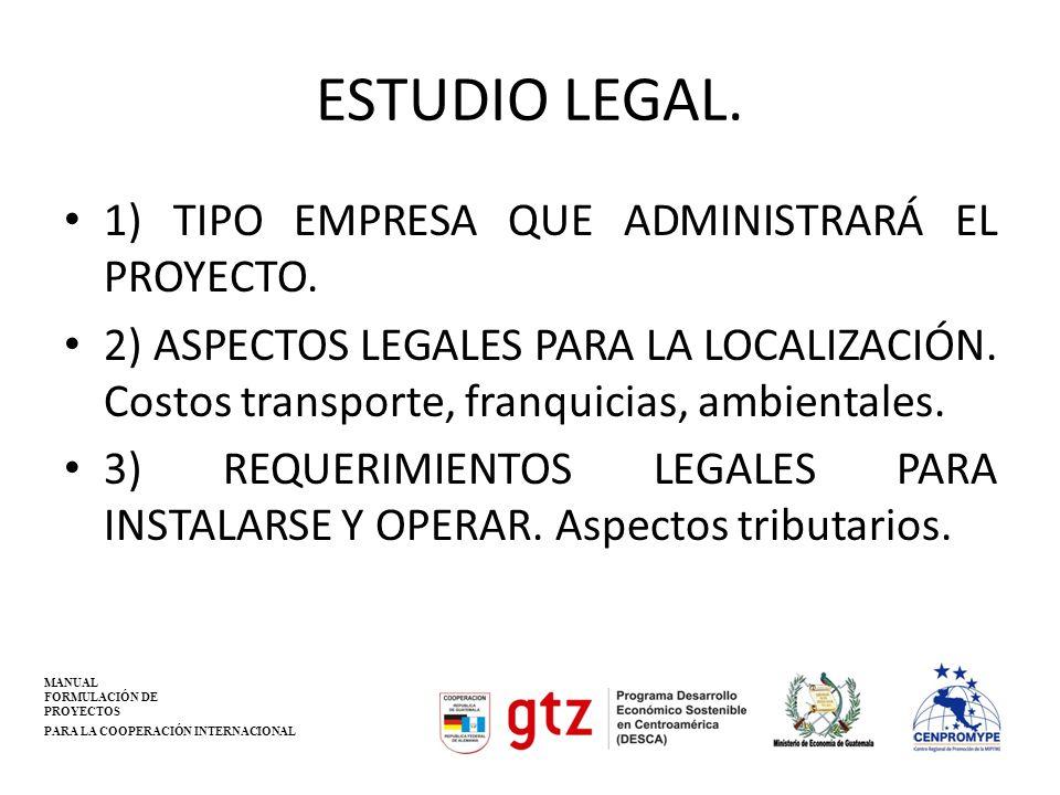 ESTUDIO LEGAL. 1) TIPO EMPRESA QUE ADMINISTRARÁ EL PROYECTO. 2) ASPECTOS LEGALES PARA LA LOCALIZACIÓN. Costos transporte, franquicias, ambientales. 3)