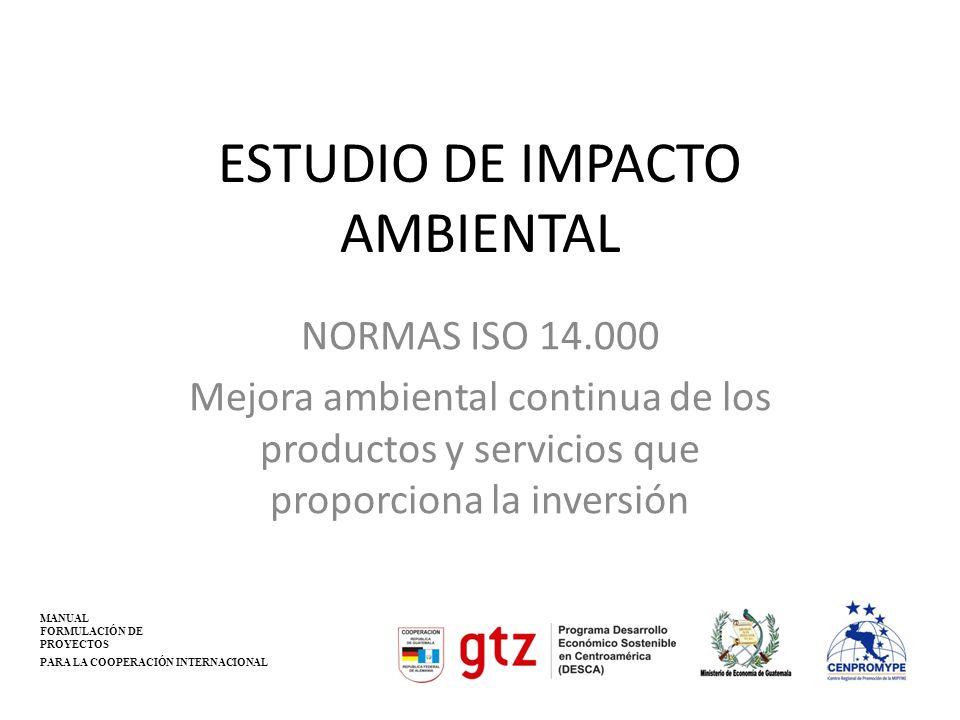 ESTUDIO DE IMPACTO AMBIENTAL NORMAS ISO 14.000 Mejora ambiental continua de los productos y servicios que proporciona la inversión MANUAL FORMULACIÓN