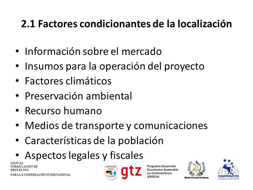 2.1 Factores condicionantes de la localización Información sobre el mercado Insumos para la operación del proyecto Factores climáticos Preservación am