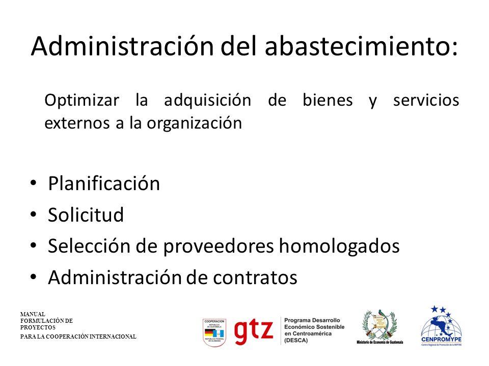 Administración del abastecimiento: Optimizar la adquisición de bienes y servicios externos a la organización Planificación Solicitud Selección de prov