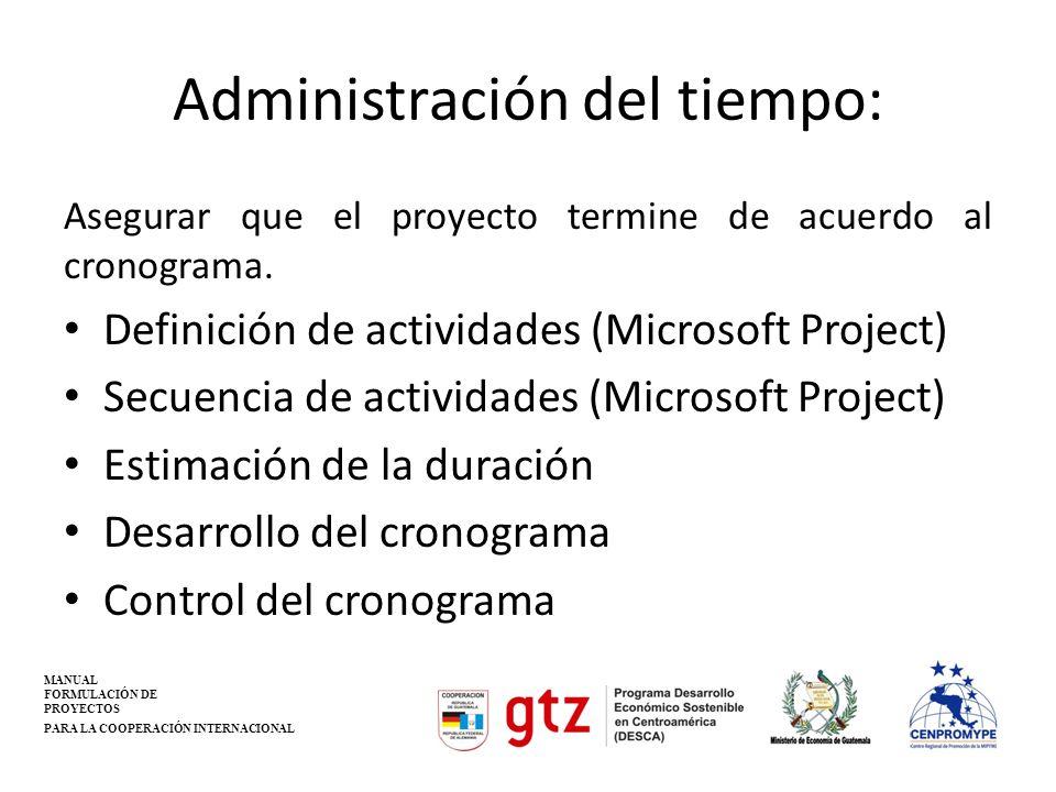 Administración del tiempo: Asegurar que el proyecto termine de acuerdo al cronograma. Definición de actividades (Microsoft Project) Secuencia de activ