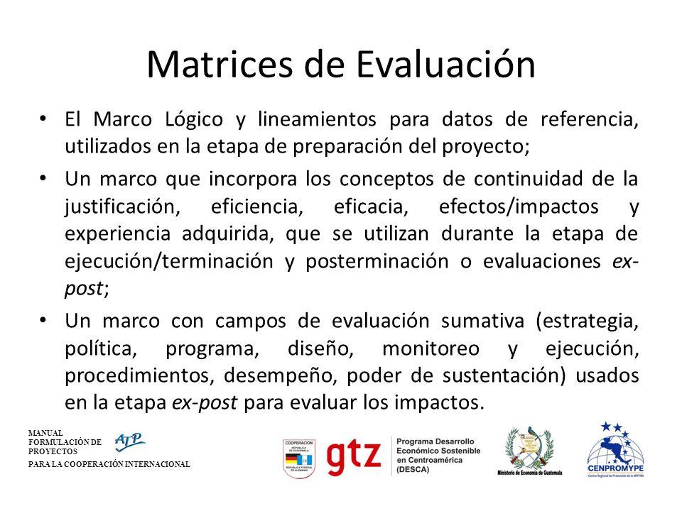 MANUAL FORMULACIÓN DE PROYECTOS PARA LA COOPERACIÓN INTERNACIONAL Matrices de Evaluación El Marco Lógico y lineamientos para datos de referencia, util