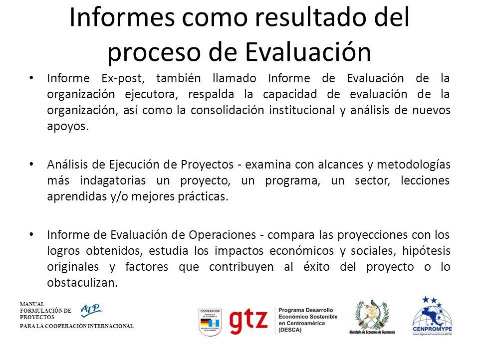 MANUAL FORMULACIÓN DE PROYECTOS PARA LA COOPERACIÓN INTERNACIONAL Informes como resultado del proceso de Evaluación Informe Ex-post, también llamado I
