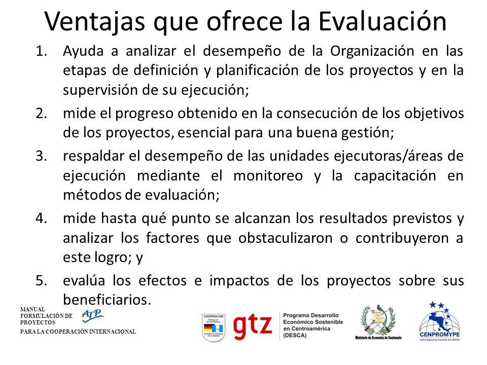MANUAL FORMULACIÓN DE PROYECTOS PARA LA COOPERACIÓN INTERNACIONAL Ventajas que ofrece la Evaluación 1.Ayuda a analizar el desempeño de la Organización