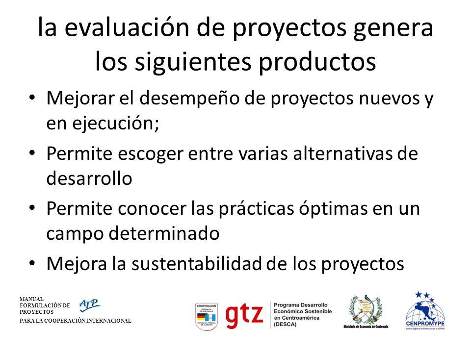 MANUAL FORMULACIÓN DE PROYECTOS PARA LA COOPERACIÓN INTERNACIONAL la evaluación de proyectos genera los siguientes productos Mejorar el desempeño de p