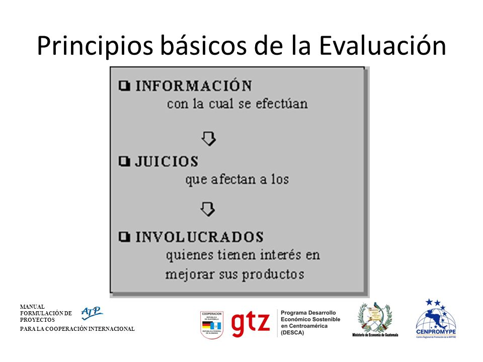 MANUAL FORMULACIÓN DE PROYECTOS PARA LA COOPERACIÓN INTERNACIONAL Principios básicos de la Evaluación