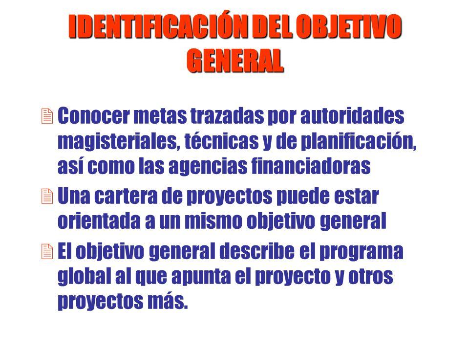 IDENTIFICACIÓN DEL OBJETIVO GENERAL 2Conocer metas trazadas por autoridades magisteriales, técnicas y de planificación, así como las agencias financia