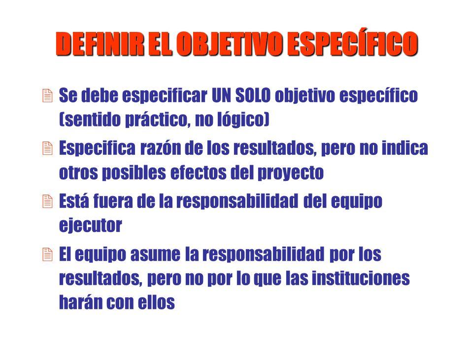 DEFINIR EL OBJETIVO ESPECÍFICO 2Se debe especificar UN SOLO objetivo específico (sentido práctico, no lógico) 2Especifica razón de los resultados, per