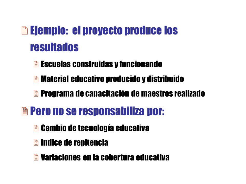 2Ejemplo: el proyecto produce los resultados 2Escuelas construidas y funcionando 2Material educativo producido y distribuido 2Programa de capacitación