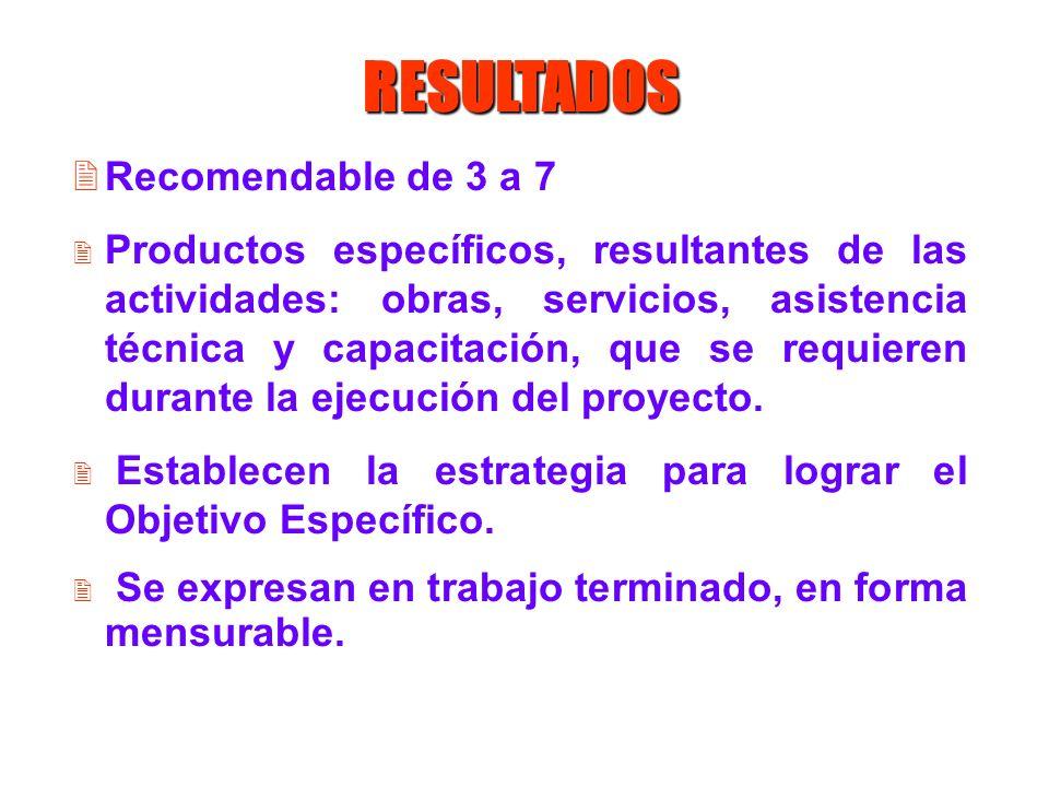 RESULTADOS 2Recomendable de 3 a 7 2 Productos específicos, resultantes de las actividades: obras, servicios, asistencia técnica y capacitación, que se