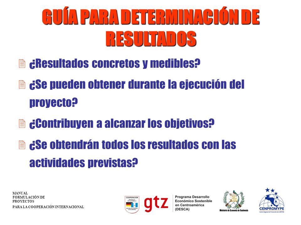 GUÍA PARA DETERMINACIÓN DE RESULTADOS 2¿Resultados concretos y medibles? 2¿Se pueden obtener durante la ejecución del proyecto? 2¿Contribuyen a alcanz