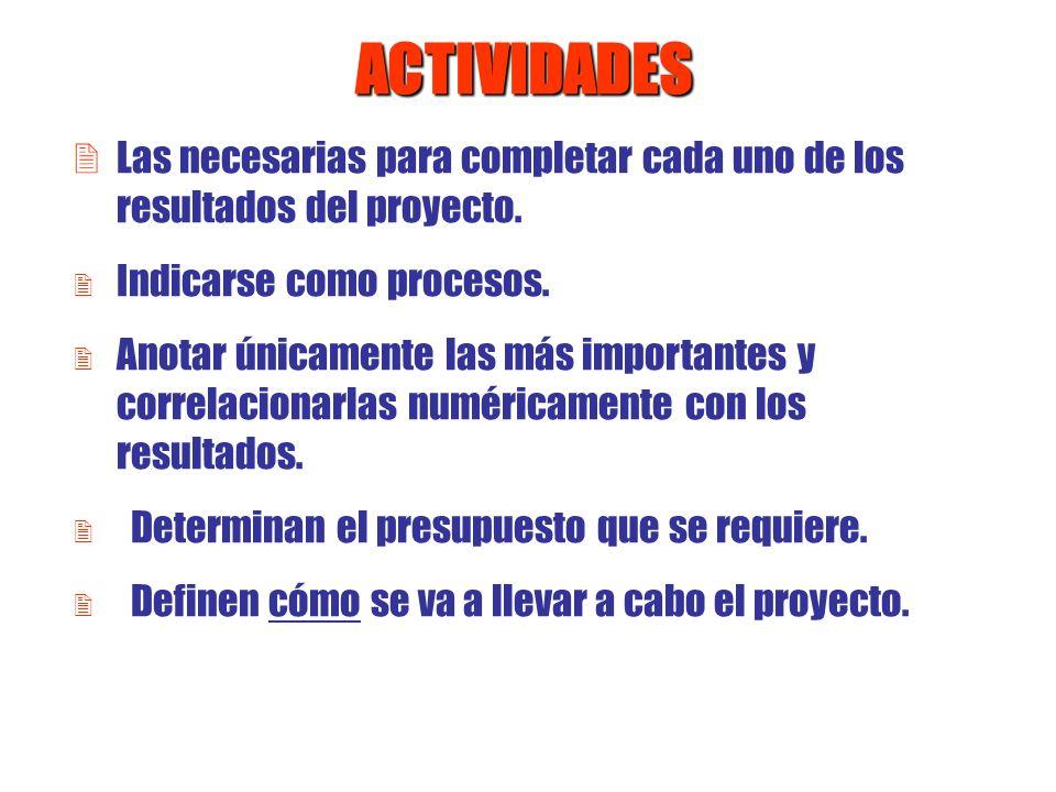 ACTIVIDADES 2 Las necesarias para completar cada uno de los resultados del proyecto. 2 Indicarse como procesos. 2 Anotar únicamente las más importante